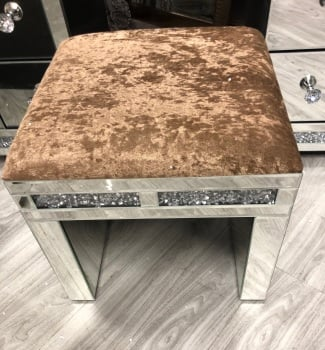 * Diamond Crush Mirrored Stool in Chocolate Brown crush fabric in stock