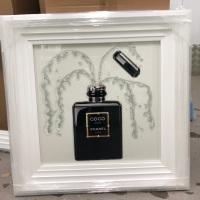 """White Stepped framed Sparkle Glitter Art """"Chanel Perfume"""" white stepped frame"""