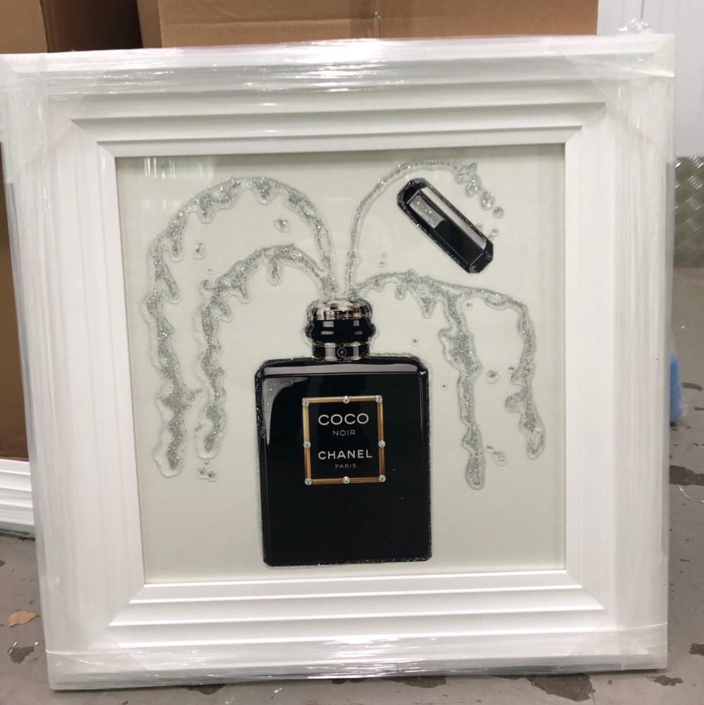 White Stepped framed Sparkle Glitter Art
