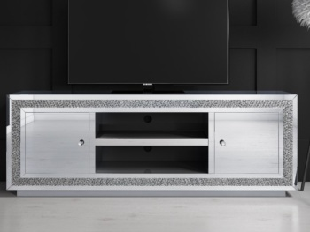 * Diamond Crush Sparkle Mirrored TV Entertainment Unit 130cm special offer price £349