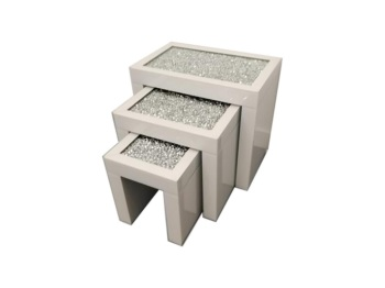 * Diamond Crush Crystal large White Nest of 3 Tables item