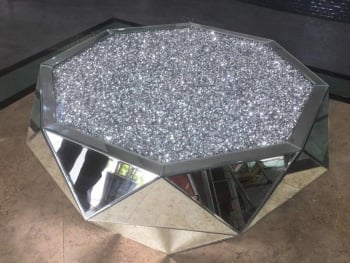 * New Diamond Crush Sparkle Crystal Mirrored Multi Faceted Coffee Table
