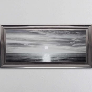 "Mirror framed ""Sunset Evening"" Wall Art in a Metallic Chrome Frame"