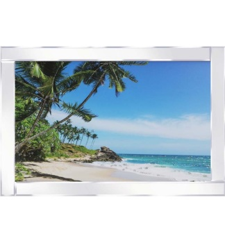 "Mirror framed ""Sparkle Tropical Beach"" Wall Art"