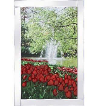 "Mirror framed ""Glitter Tulip & Tree Scene"" wall art"