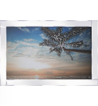 "Mirror framed ""Palm Tree over the Sea"" wall art"