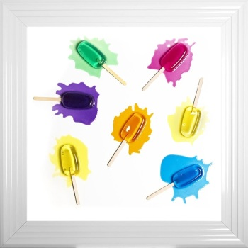 3D colourful Scatter Ice Lollies  wall art on a white background in choice of frames