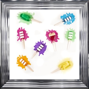 Jake Johnson 3D colourful Ice Pops wall art on a white gloss background in  a white stepped frame