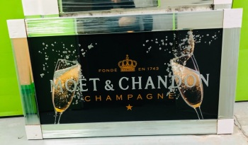 ** Moet Champagne Black and Gold with Flutes Glitter Art in a Mirrored Frame ** 114cm x 65cm