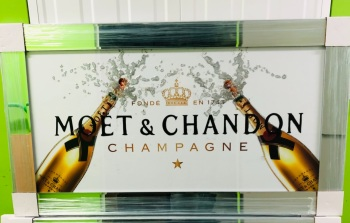 ** Moet Champagne White and Gold with Flutes Glitter Art in a Mirrored Frame ** 114cm x 65cm