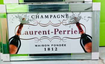 ** Laurent Perrier Champagne White Glitter Art in a Mirrored Frame ** 114cm x 65cm