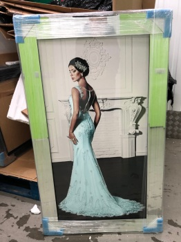 Glamour Lady style wall Art in a choice of frame colours 114cm x 64cm