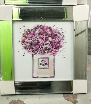 "Mirror Framed Sparkle Glitter Art "" Chanel Coco perfume Paris""  In stock"