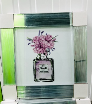 "Mirror Framed Sparkle Glitter Art "" Chanel Coco perfume Paris Lilac pink""  In stock"