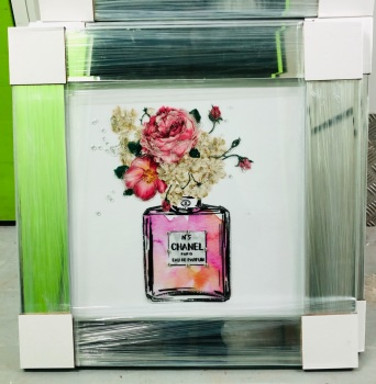 "Mirror Framed Sparkle Glitter Art "" Chanel Coco perfume Paris Flowers""  In stock"