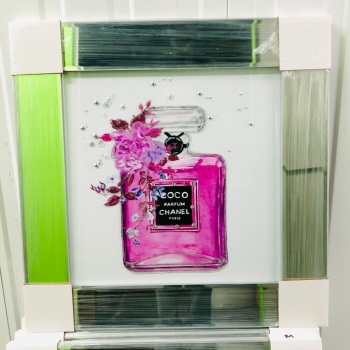 "Mirror Framed Sparkle Glitter Art "" Chanel Coco Perfume""  In stock"