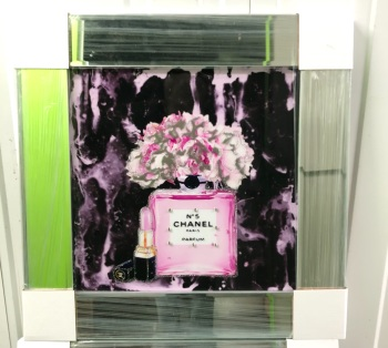 "Mirror Framed Sparkle Glitter Art "" Chanel No5 Pink In stock"
