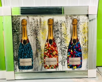 ** Bollinger Champagne Glitter Art in a Mirrored Frame ** 105 x 75cm  item in stock