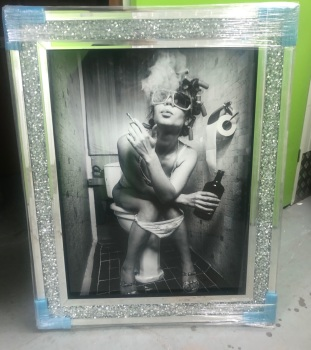 """Classy Lady"" Wall Art in a diamond crush mirrored Frame"