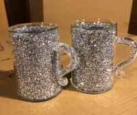 """ New Diamond Crush Drinks Mugs  item in stock pair of 2"