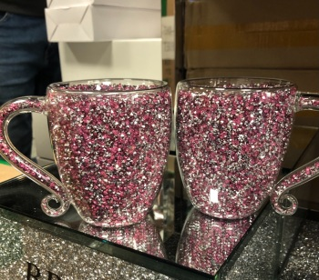 """"""" New Diamond Crush Drinks Mugs  Large in Pink & Silver - item in stock set of 2"""