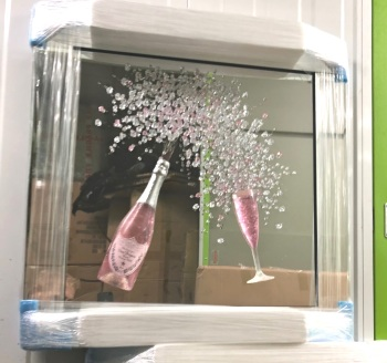 3d Dom Perignon Pink Champagne wall art on a Silver mirror in a chrome stepped frame - item in stock