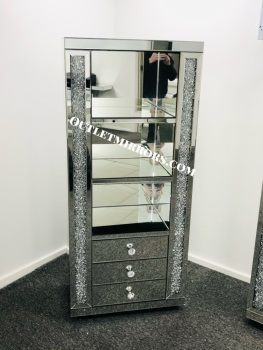 * New Diamond Crush Sparkle Crystal Mirrored 3 draw Display Unit - item SOLD OUT