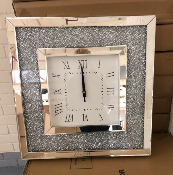* New Diamond Crush Sparkle Crystal Mirrored Clock 50cm x 50cm Special offer instock