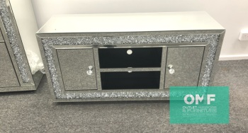 * Diamond Crush Sparkle Mirrored TV Entertainment Unit 130cm special offer price £349 in stock