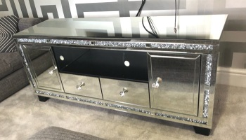 "* Extra large Diamond Crush Crystal Sparkle Mirrored TV Entertainment Unit fits 65"" tv"