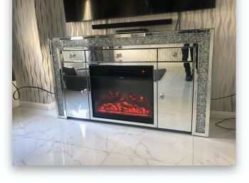 * Diamond Crush Sparkle Mirrored Sideboard in  2 Door 3 draw  with electric fire stock due  3/9/21