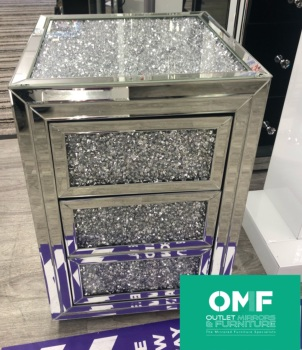 * Diamond Crush Crystal Mirrored 3 draw Bedside Chest with crush top and draws - in stock SPECIAL OFFER PRICE