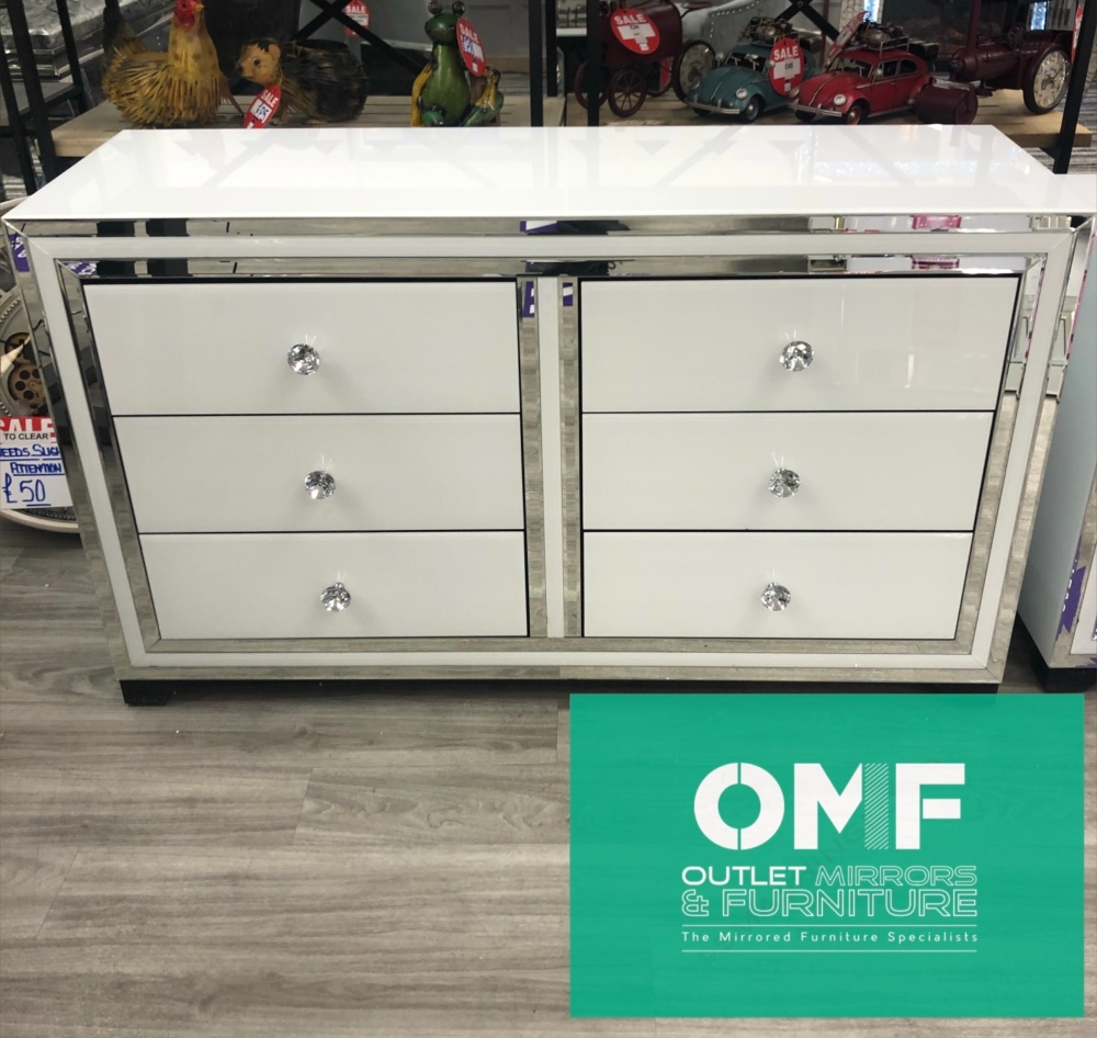 Atlanta  White Mirrored 6 Draw Large chest SPECIAL OFFER PRICE  in stock