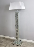 ^Diamond Crush Crystal Block Mirrored Floor Lamp 30.5cm x 142cm Silver Grey or White shade in stock