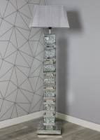 ^Diamond Crush Crystal Sparkle Mirrored Tall Venessa floor Lamp 30.5cm x 142cm grey shade in stock