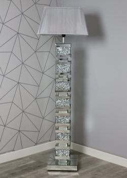 ^Diamond Crush Crystal Sparkle Mirrored Tall Venessa floor Lamp 30.5cm x 142cm grey shade in stock