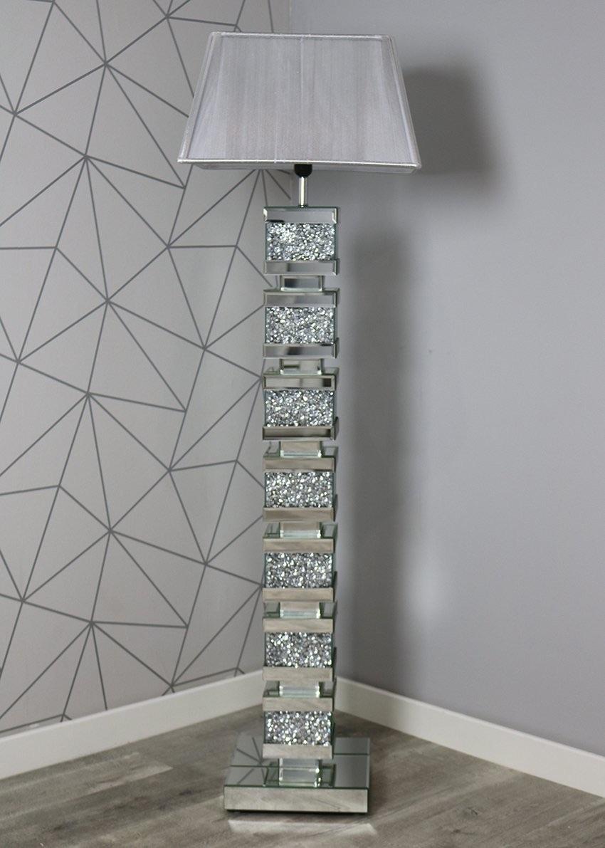 ^Diamond Crush Crystal Sparkle Mirrored Tall Venessa floor Lamp 30.5cm x 14