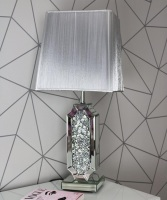 Diamond Crush Crystal Sparkle Shaped Mirrored Table  Lamp silver shade