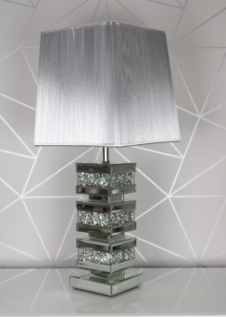 *Diamond Crush Crystal Sparkle Venessa Mirrored Lamp with shade - item in stock