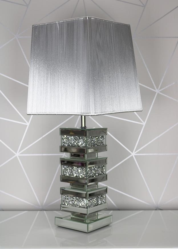 *Diamond Crush Crystal Sparkle Venessa Mirrored Lamp with shade - item in s