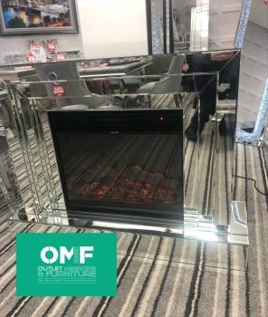 * New  silver Mirrored fire Surround with remote control electric fire SOLD OUT