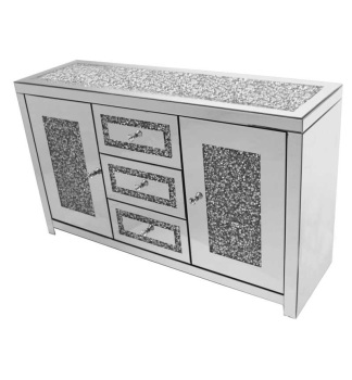 *Diamond Crush Sparkle Crystal Mirrored  Gatsby 3 draw 3 Door Sideboard with crystal Top