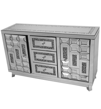 *Diamond Crush Sparkle Crystal Mirrored  Art Deco  3 draw 2 Door Sideboard with crystal Top