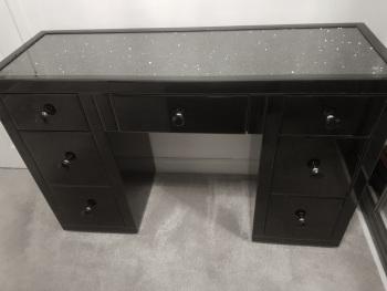 * Monica Diamond Crush Mirrored Black 7 Draw Dressing Table with a Diamond Crush Top In stock