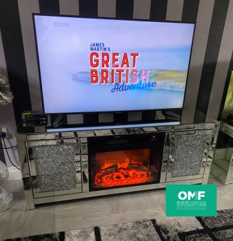 * Diamond Crush Sparkle Mirrored TV Entertainment Unit with built in electric Fire 150cm  out of stock