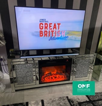 # Diamond Crush Sparkle Mirrored TV Entertainment Unit with built in multi colour electric Fire 150cm  due October