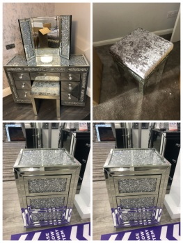 * Monica. Package Deal  Diamond Crush Mirrored 7 Draw Dressing Table with a Diamond crush Top, 2 chest of draws Crush Top & draws, 1 x stool and tri f