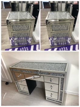 * Monica package Deal  Diamond Crush Mirrored 7 Draw Dressing Table with a Diamond crush Top & 2 bedside chest of draws in  Stock