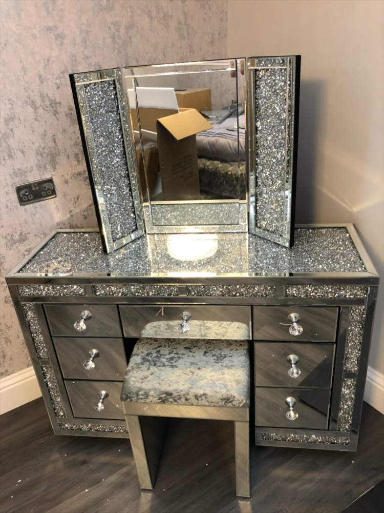 Monica Diamond Crush Mirrored 7 Draw, White Dressing Table With Fold Down Mirror