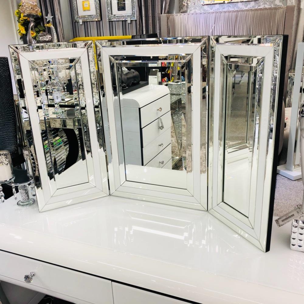 Atlanta White Mirrored Tri fold Mirror